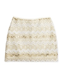Elisa B Gold Dust Sequin Tulle Skirt Ivory