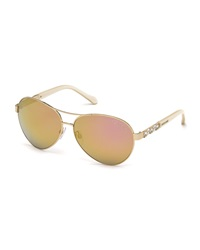 Roberto Cavalli Crystal Temple Aviator Sunglasses Brown