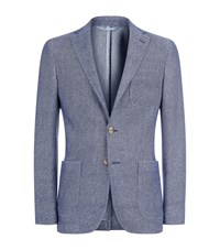 Malo Cashmere Wool Patch Pocket Blazer Male Blue