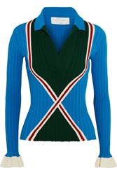 Esteban Cortazar Ribbed Knit Polo Shirt Bright Blue
