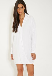 Forever 21 Mlm Collared Surplice Dress White
