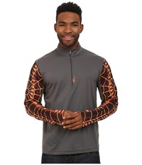 Spyder Webstrong Dry W.E.B. T Neck Top Polar Bryte Orange Men's Long Sleeve Pullover Gray