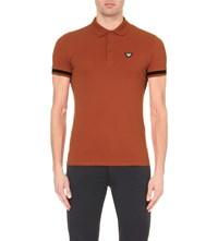 Armani Jeans Striped Cotton Pique Polo Shirt Orange