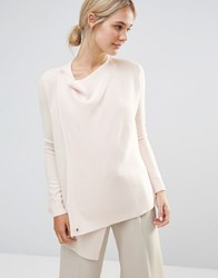 Ted Baker Wrap Oversized Knitted Jumper Nude Pink