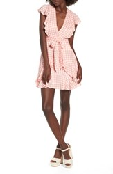 Lost Wander Brunch Ruffle Gingham Dress Grapefruit Pink