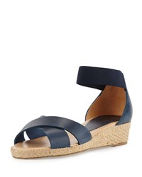 Andre Assous Derina Leather Espadrille Wedge Sandal Navy