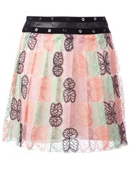 Giamba Butterfly Print Pleated Skirt Multicolour