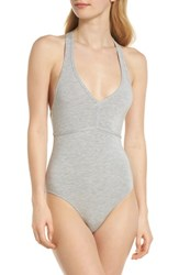 Felina T Back Bodysuit Heather Grey