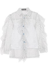 House Of Holland Ruffled Swiss Dot Tulle Shirt White