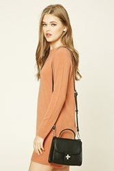 Forever 21 Structured Faux Leather Crossbody Black