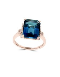 Effy Diamond London Blue Topaz And 14K Rose Gold Ring White Gold