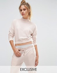 Puma Exclusive To Asos High Neck Cropped Sweat In Pale Pink Powder Puff White