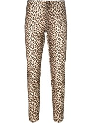 P.A.R.O.S.H. Animal Print Slim Fit Trousers Nude And Neutrals