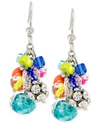 Macy's M. Haskell Silver Tone Shaky Mixed Multi Colored Bead Drop Earrings