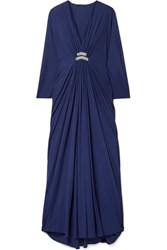 Reem Acra Draped Embellished Jersey Maxi Dress Midnight Blue