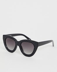 Jeepers Peepers Chunky Cat Eyes Sunglasses With Tinted Lens Black