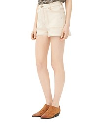 Sandro Paraone Stitched Denim Shorts In Beige