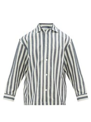 E. Tautz Striped Cotton Blend Pyjama Shirt Blue White