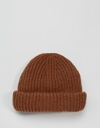Asos Chunky Ribbed Fisherman Beanie In Rust Rust Orange