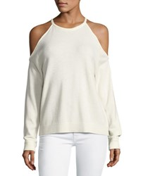 Theory Toleema B Cashmere Cold Shoulder Sweater White