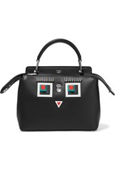 Fendi Dotcom Petite Embellished Leather Shoulder Bag Black