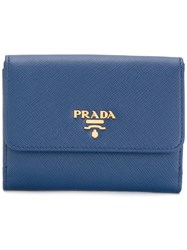 Prada Flap Trifold Wallet Leather Blue
