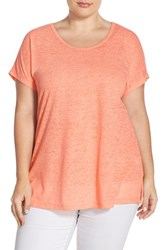 Plus Size Women's Sejour Sheer Knit Round Neck Tee Coral Pink