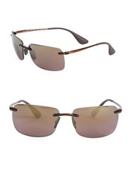Ray Ban Square Rimless Sunglasses Gold Purple