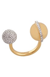 Women's Rachel Zoe 'Kyra' Double Sphere Open Ring Gold