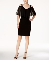 Msk Cold Shoulder Chiffon Overlay Sheath Dress Black