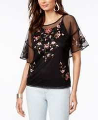 Thalia Sodi Embroidered Mesh Top Created For Macy's Deep Black