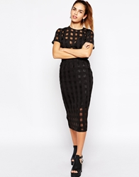 Motel Himalayan Midi Skirt In Sheer Black Check