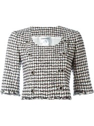 Chanel Vintage Houndstooth Cropped Jacket Multicolour