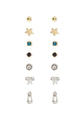 Forever 21 Scissor And Rhinestone Stud Set Gold Blue