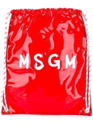Msgm Contrast Logo Backpack Red