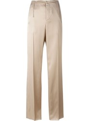 Calvin Klein Collection Satin Tailored Trousers Nude And Neutrals
