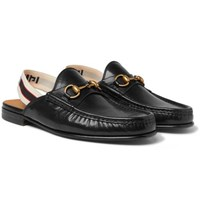 Gucci Webbing Trimmed Leather Backless Loafers Black