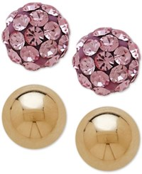 Macy's Children's 2 Pc. Set Pink Crystal And Ball Stud Earrings In 14K Gold