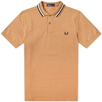 Fred Perry Bomber Stripe Pique Polo Brown