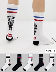 Globe 5 Pack Sport Socks With Side Text And Logo In Black And White