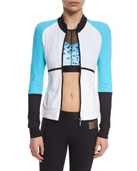 Monreal London Featherweight Colorblock Zip Up Sport Jacket White