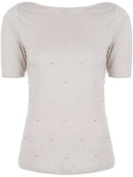 Max And Moi Beaded T Shirt Nude And Neutrals