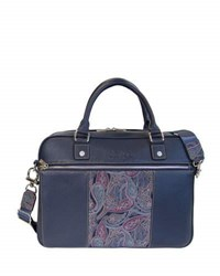Robert Graham Vatican Paisley Leather Briefcase Navy