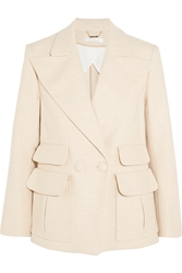 Chloe Double Breasted Woven Stretch Cotton Blazer