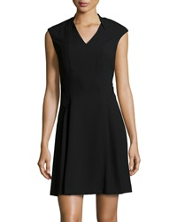 Marc New York By Andrew Marc Sleeveless V Neck Fit And Flare Dress Black