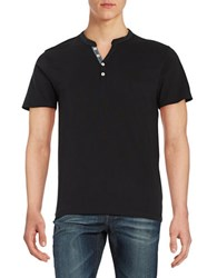 Selected Cotton Henley Tee Black