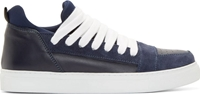 Kris Van Assche Navy Suede And Leather Skate Sneakers