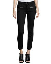7 For All Mankind Ankle Skinny Jeans W Zip Pockets Black
