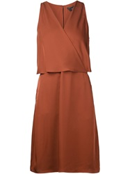 Theory Wrap Front Dress Brown