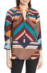 Tracy Reese Geometric Print Silk Peasant Blouse Geometric Stripe